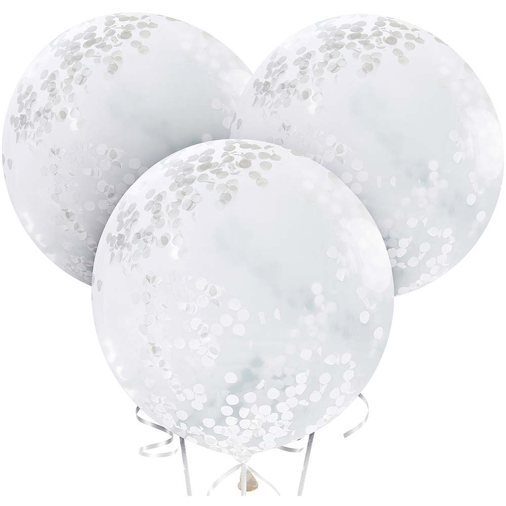 Ginger Ray Giant White Confetti Balloons 3ct Image #2