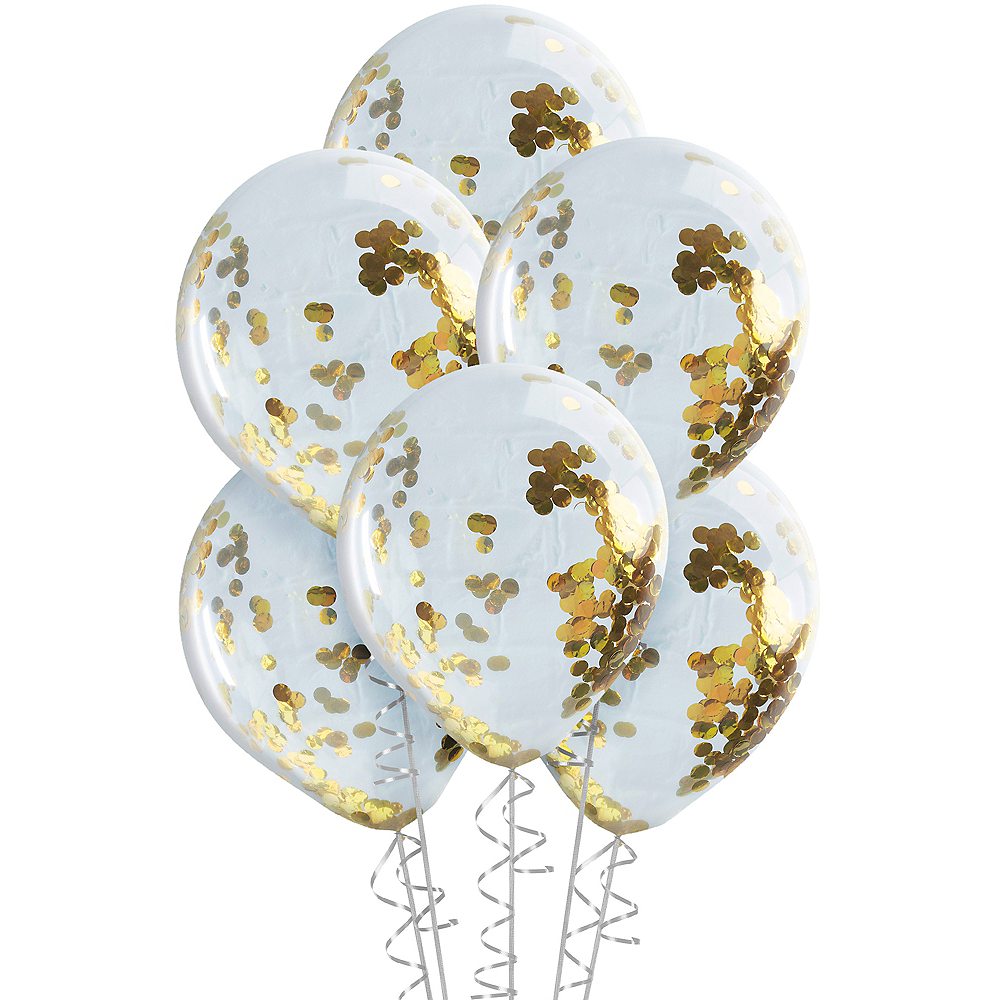 Ginger Ray Gold Confetti Balloons 5ct Image #2