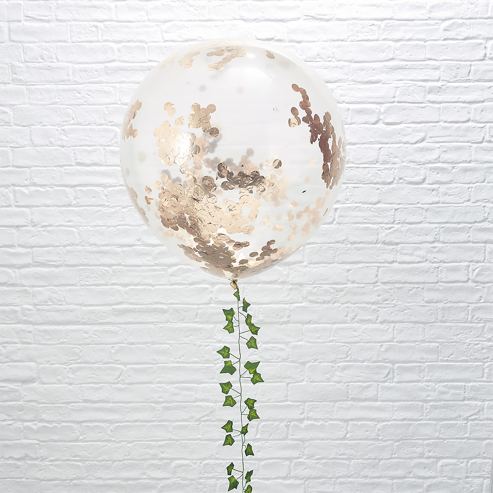 Ginger Ray Giant Rose Gold Confetti Balloons 3ct Image #1