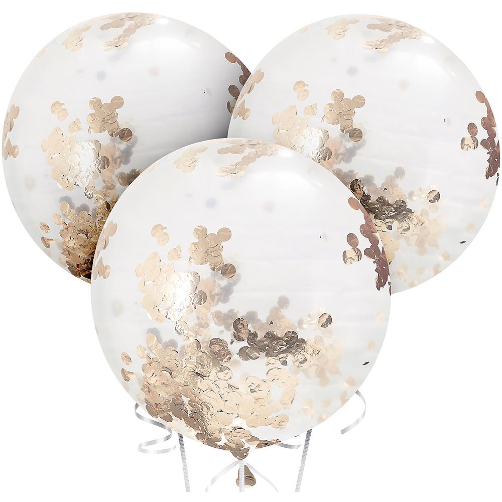 Ginger Ray Giant Rose Gold Confetti Balloons 3ct, 36in Image #2