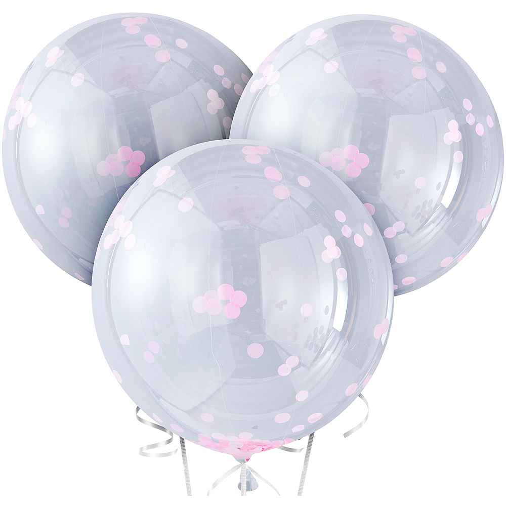 Nav Item for Ginger Ray Giant Pink Confetti Balloons 3ct Image #2
