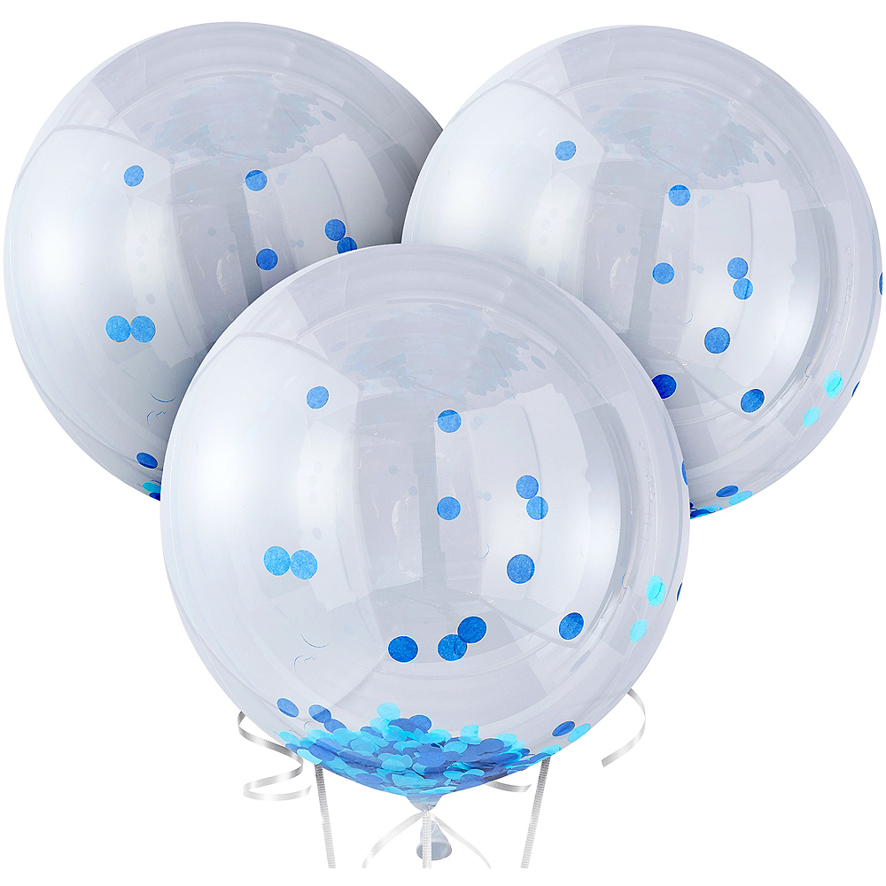 Ginger Ray Giant Blue Confetti Balloons 3ct Image #2