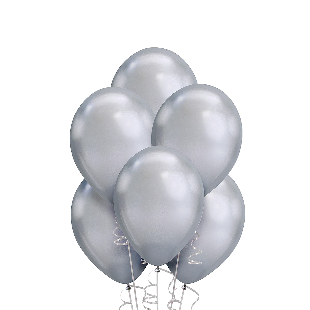 Silver Chrome Balloons 25ct Image #1