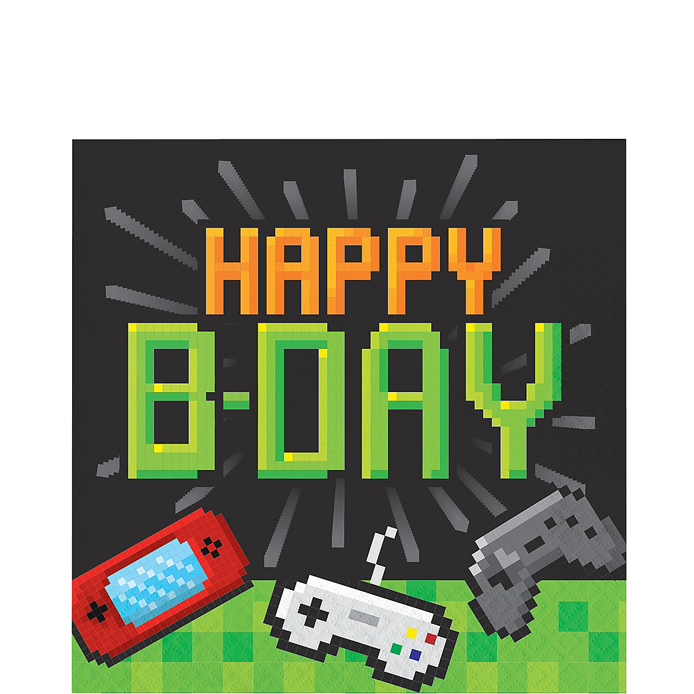 Video Game Happy Birthday Lunch Napkins 16ct Image #1