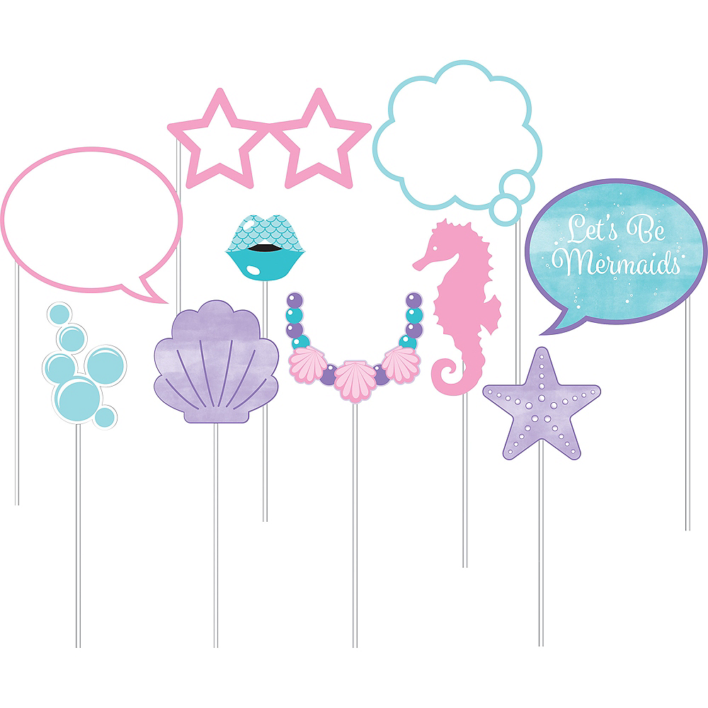 Shimmer Mermaid Photo Booth Props 10ct Image #1