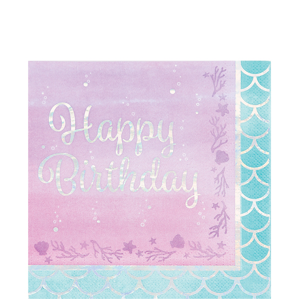 Shimmer Mermaid Happy Birthday Lunch Napkins 16ct Image #1
