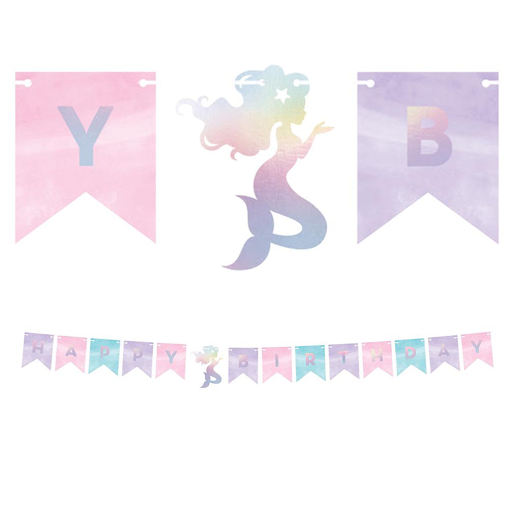 Shimmer Mermaid Happy Birthday Pennant Banner 64 1/2in X