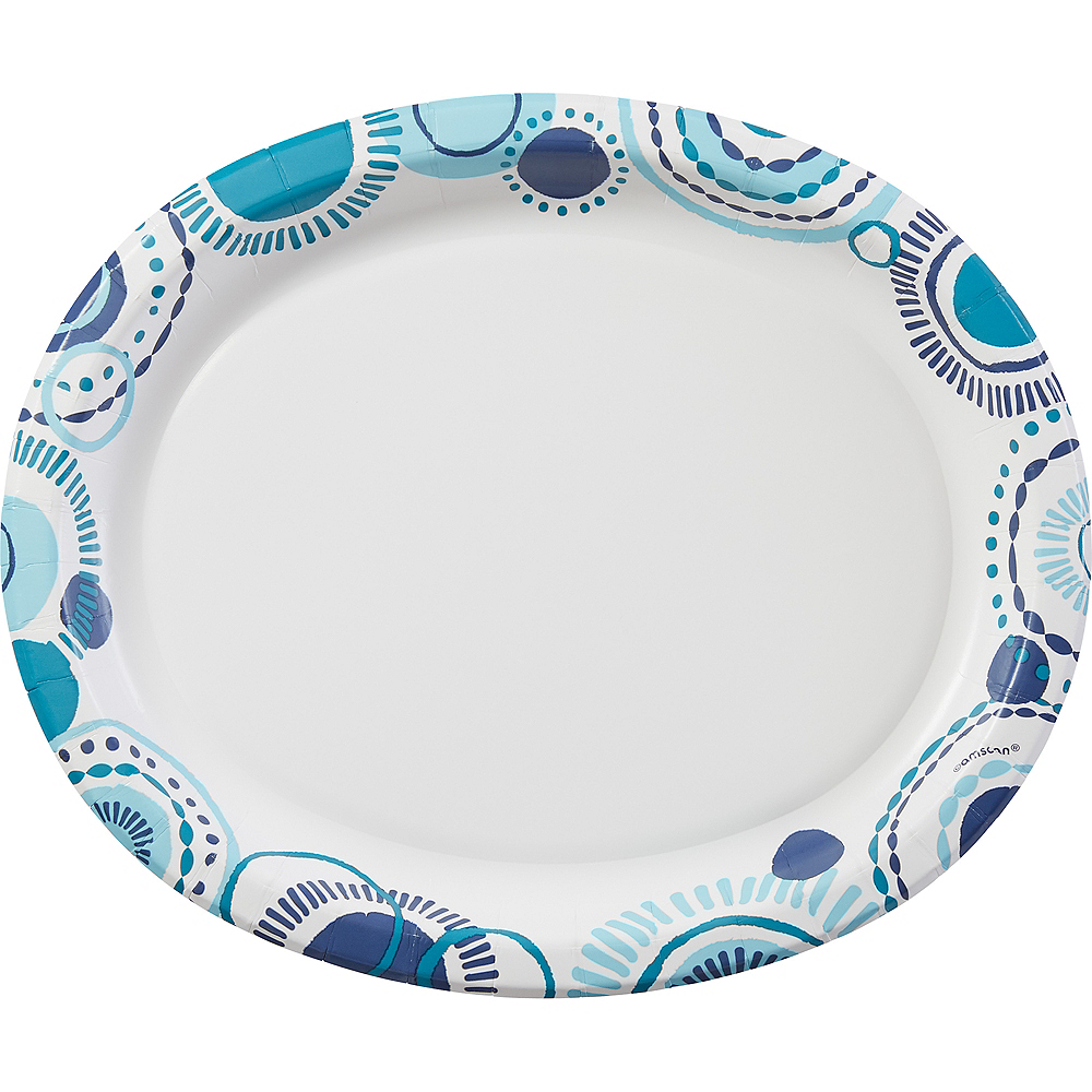 Teal Summer Oval Plates 100ct Image #1
