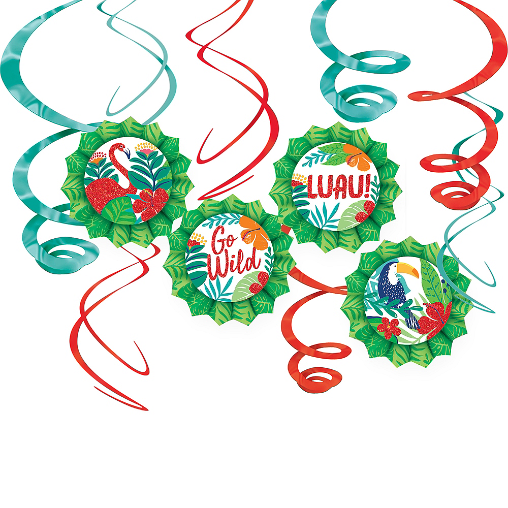 Tropical Jungle Paper Fan & Swirl Decorations 12ct Image #1
