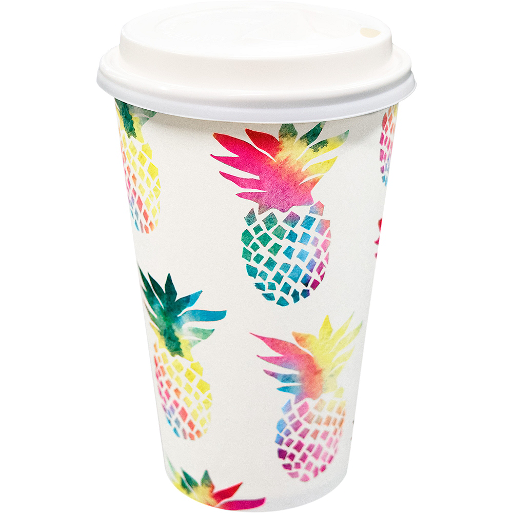 Colorful Pineapple Coffee Cups with Lids 8ct Image #1