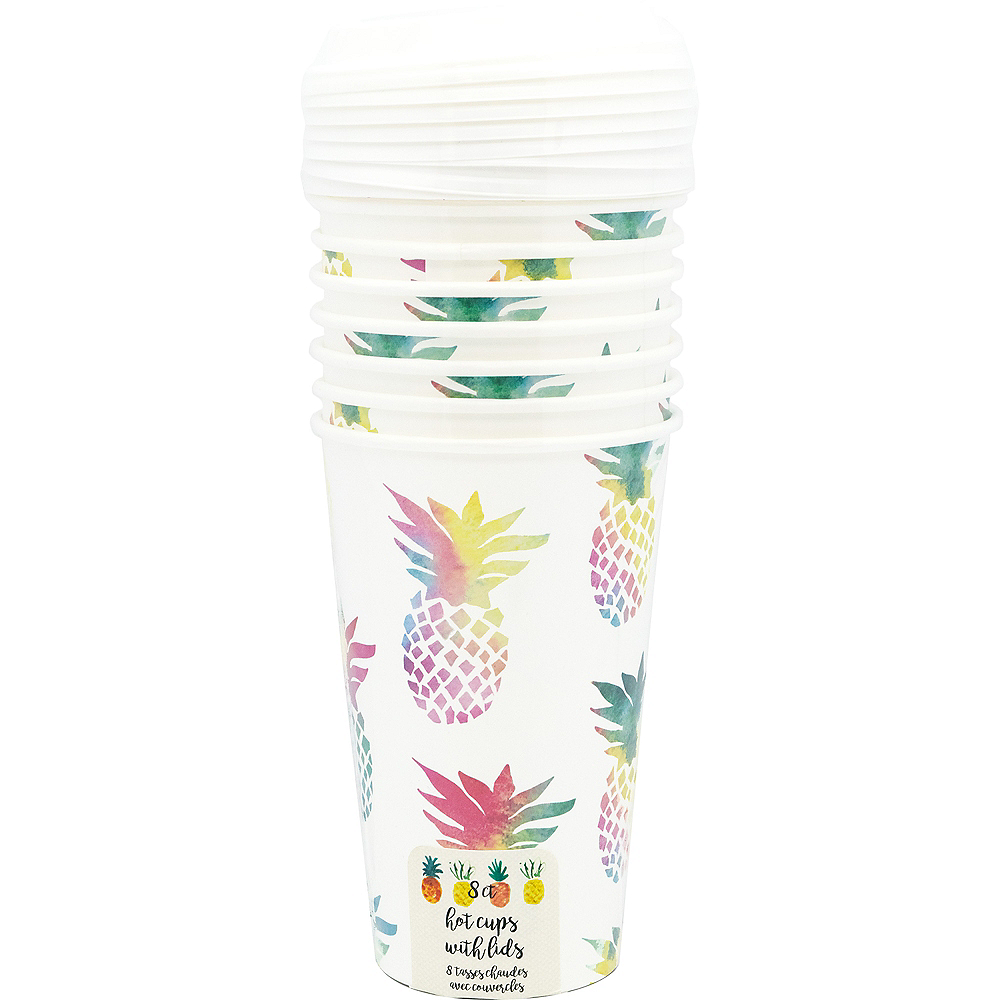 Colorful Pineapple Coffee Cups with Lids 8ct Image #2