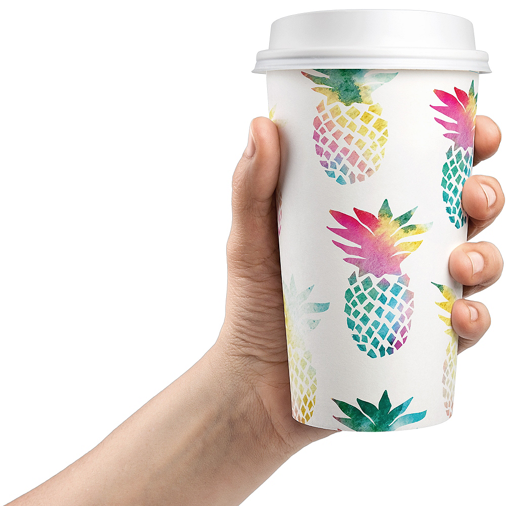 Colorful Pineapple Coffee Cups with Lids 8ct Image #3