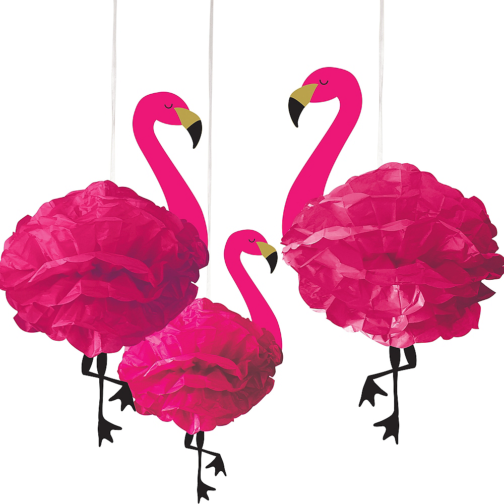 Flamingo Tissue Pom Poms 3ct Image #1