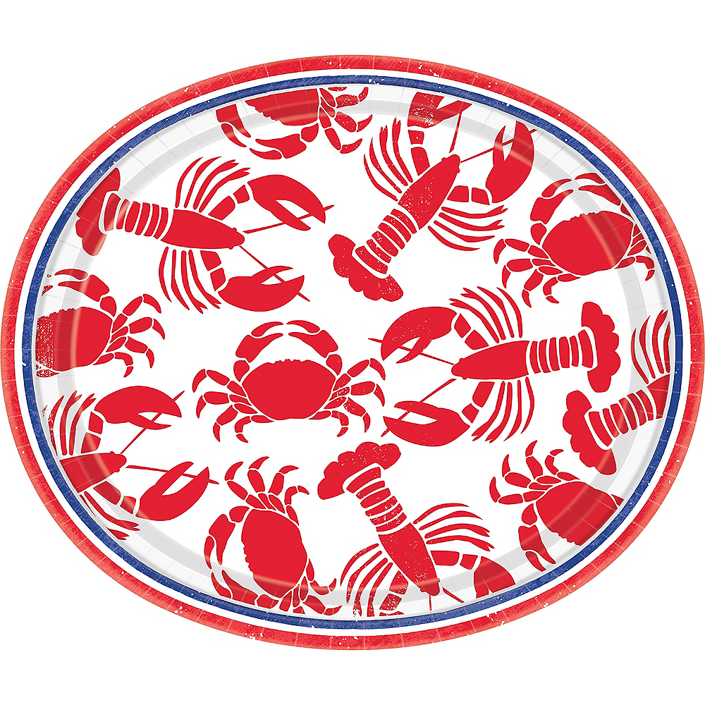 Seafood & Summer Oval Plates 8ct Image #1