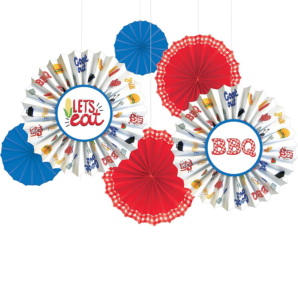 Nav Item for BBQ Picnic Paper Fan Decorations 6ct Image #1