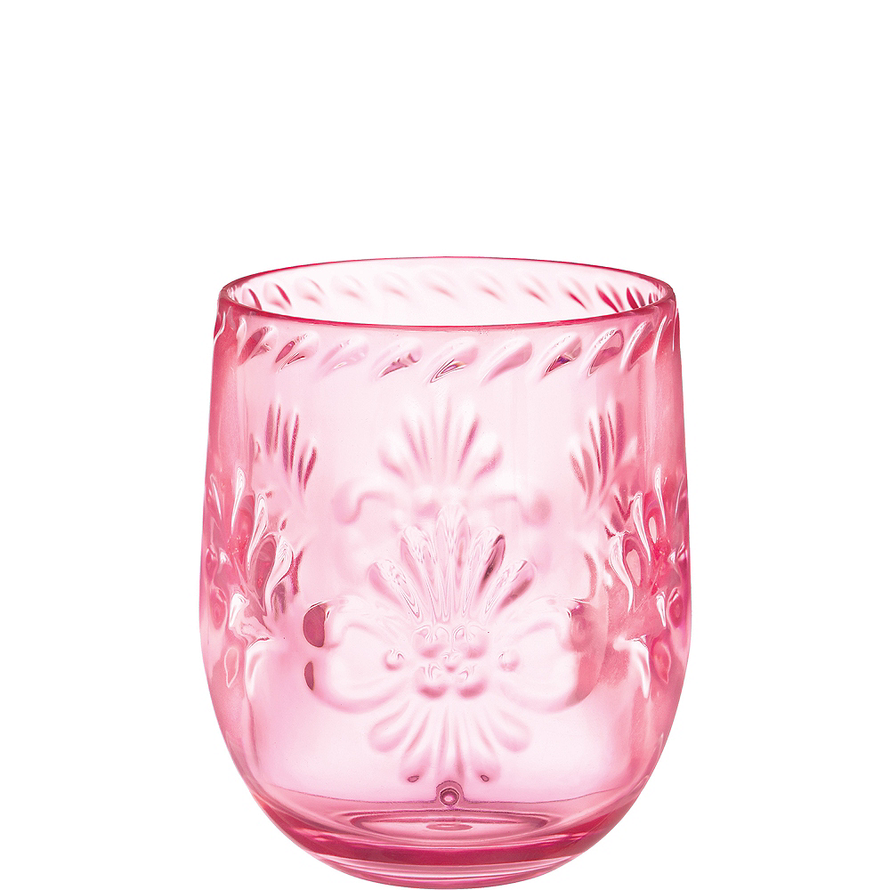 Pink Elegant Pattern Stemless Wine Glass Image #1