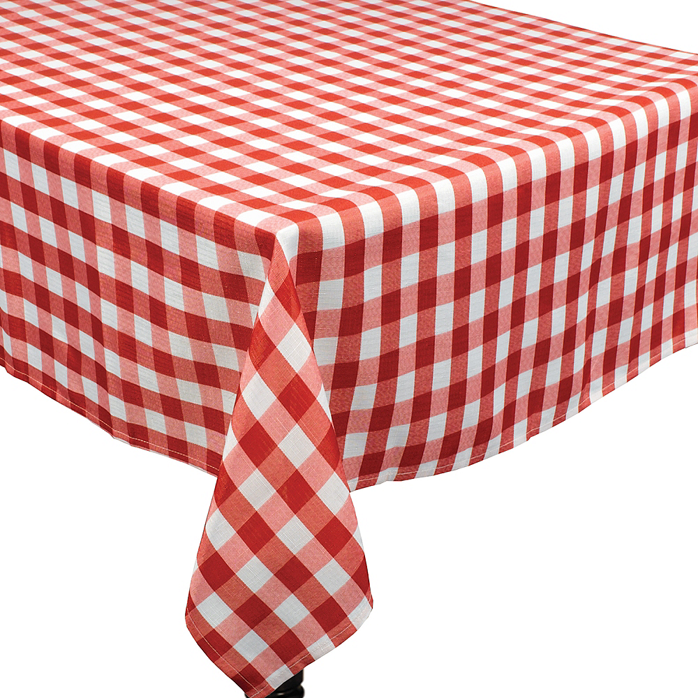Red Gingham Fabric Tablecloth Image #1