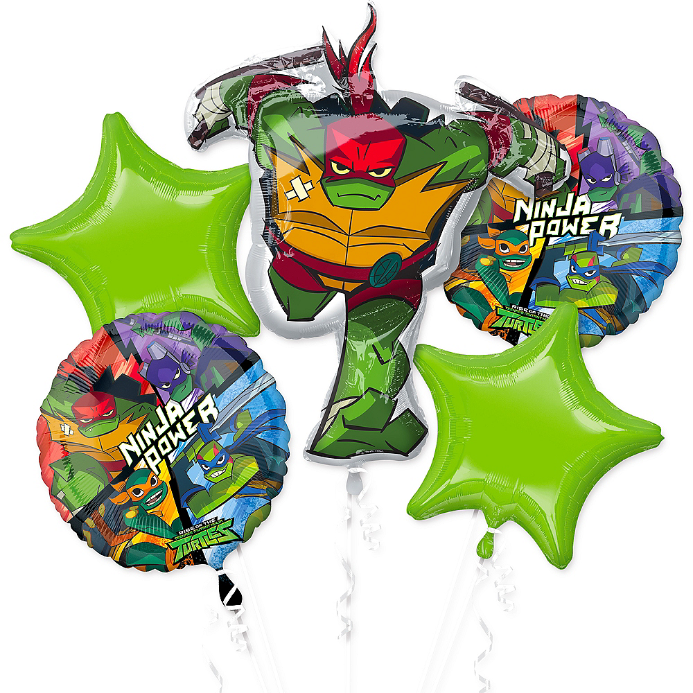 Rise of the Teenage Mutant Ninja Turtles Balloon Bouquet 5pc Image #1
