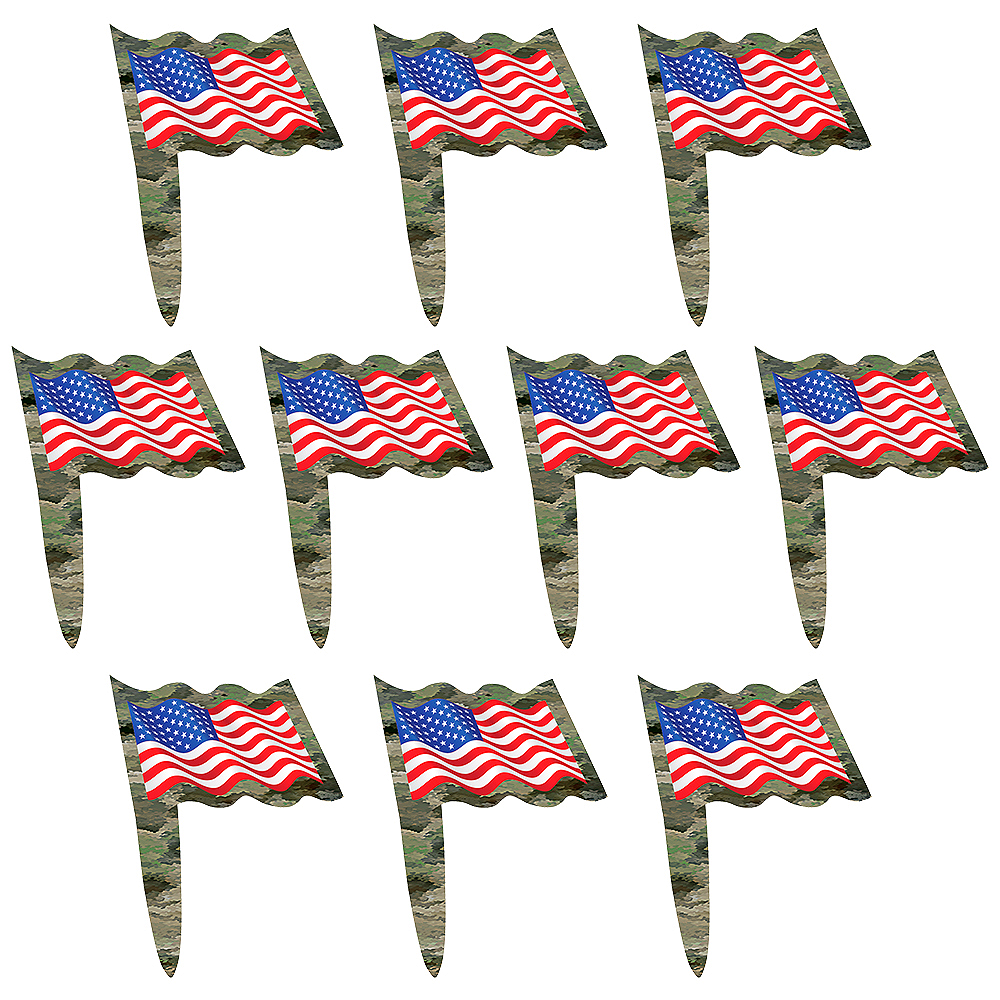 Patriotic Camo Party Picks 24ct Image #1