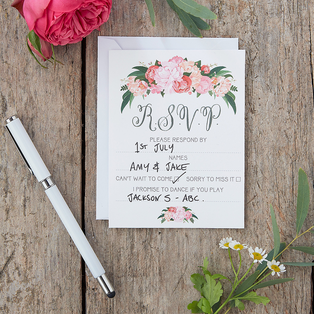 Ginger Ray Floral Boho Wedding RSVP Cards 10ct Image #1