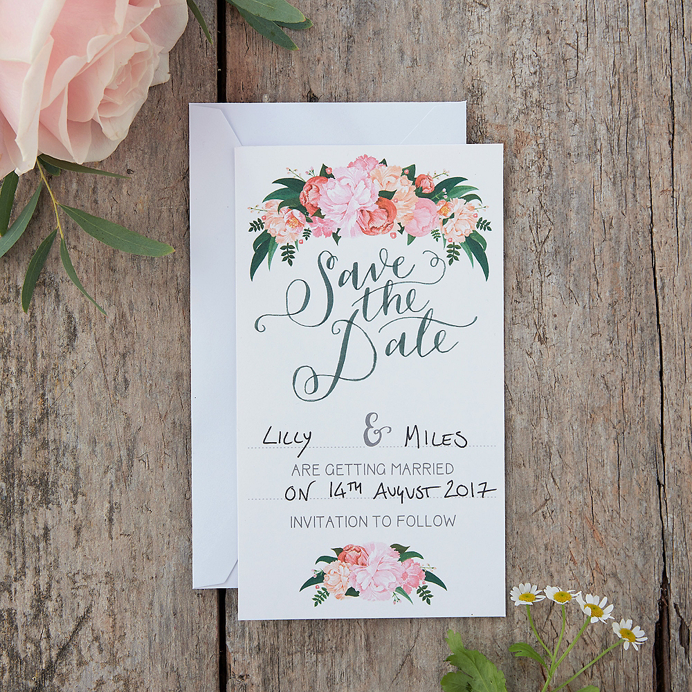 Save On Wedding Flowers: Ginger Ray Floral Boho Wedding Save The Date Cards 10ct