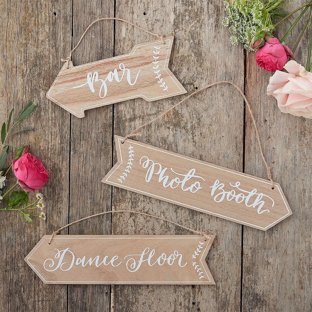 Nav Item for Ginger Ray Boho Wedding Arrow Signs 3ct Image #1