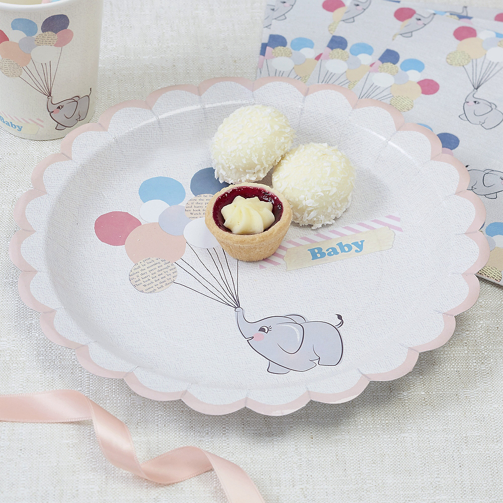 70bcf01e8 Ginger Ray Elephant Baby Shower Lunch Plates 8ct Image  1 ...