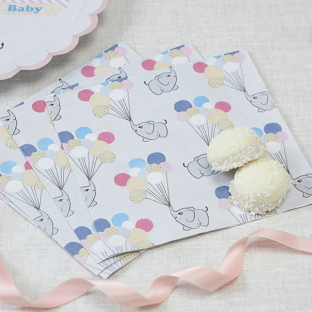 Ginger Ray Elephant Baby Shower Lunch Napkins 20ct Image #1