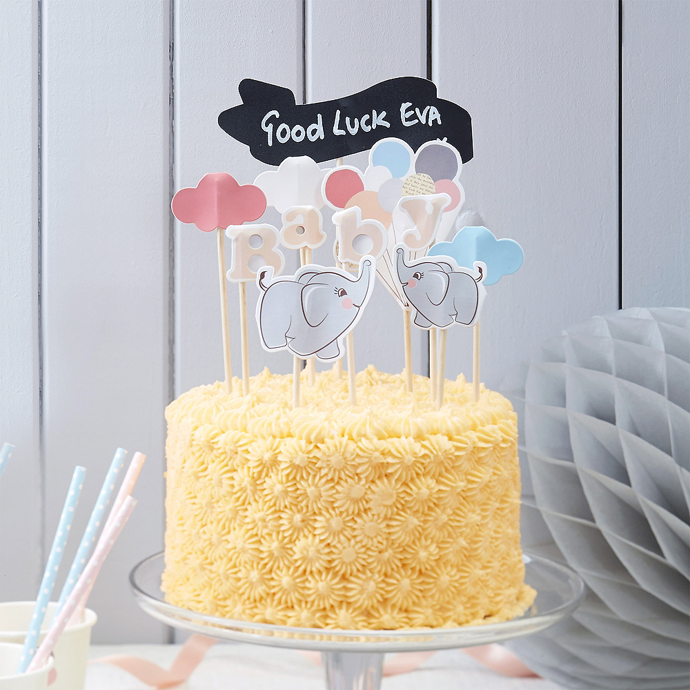 Ginger Ray Elephant Baby Shower Cake Toppers 11ct Image 1