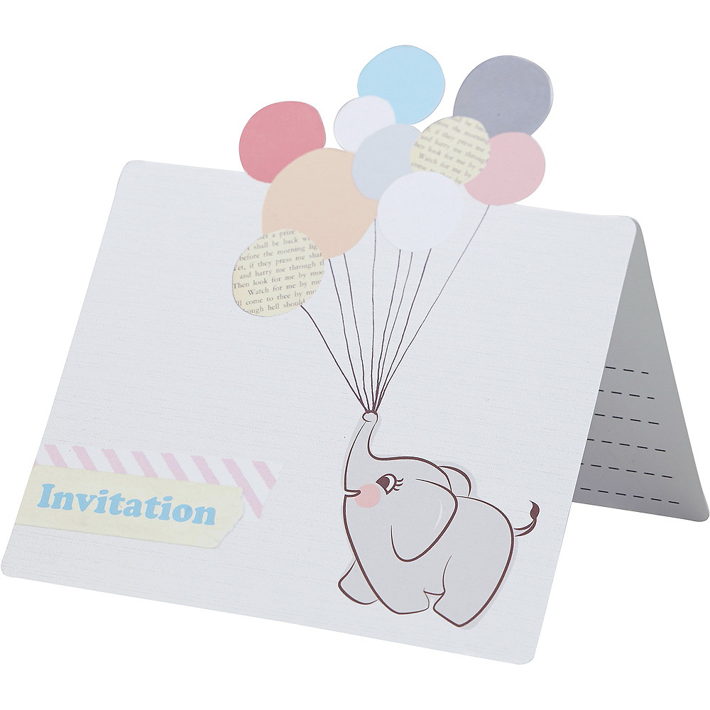 Ginger Ray Elephant Baby Shower Invitations 10ct Image #2