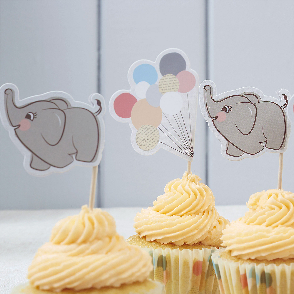 Ginger Ray Elephant Baby Shower Cupcake Decorating Kit For 10
