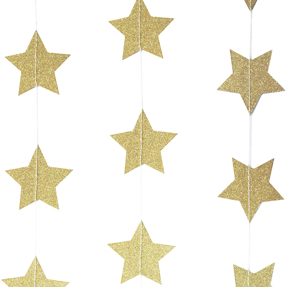 Ginger Ray Pastel Perfection Glitter Gold Star Garland Image #2