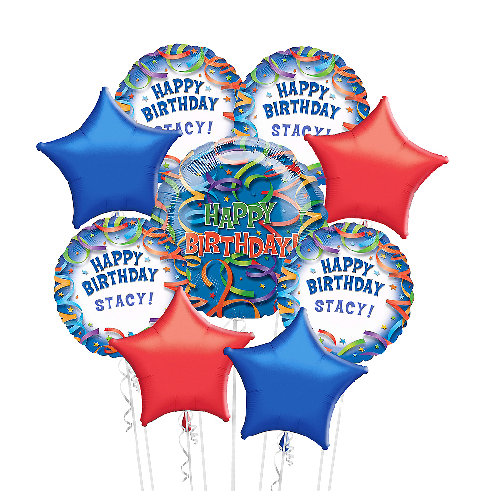 Birthday Streamers Balloon Bouquet Kit 10pc Image #1