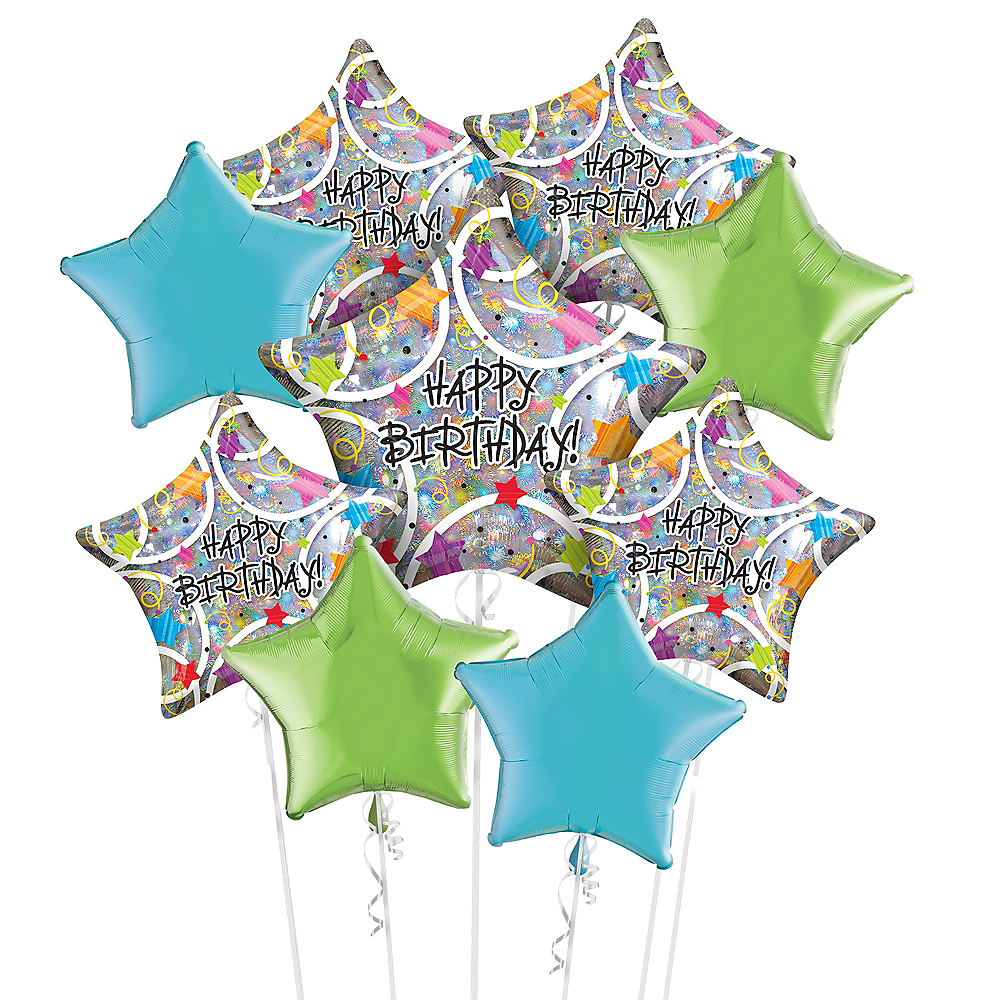 Holographic Star Birthday Balloon Bouquet Kit 17pc Image #1