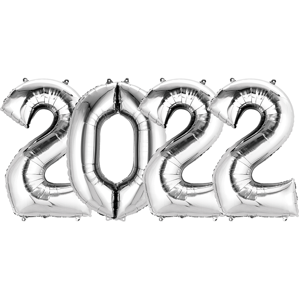 Giant Silver 2022 Number Balloon Kit Image #1