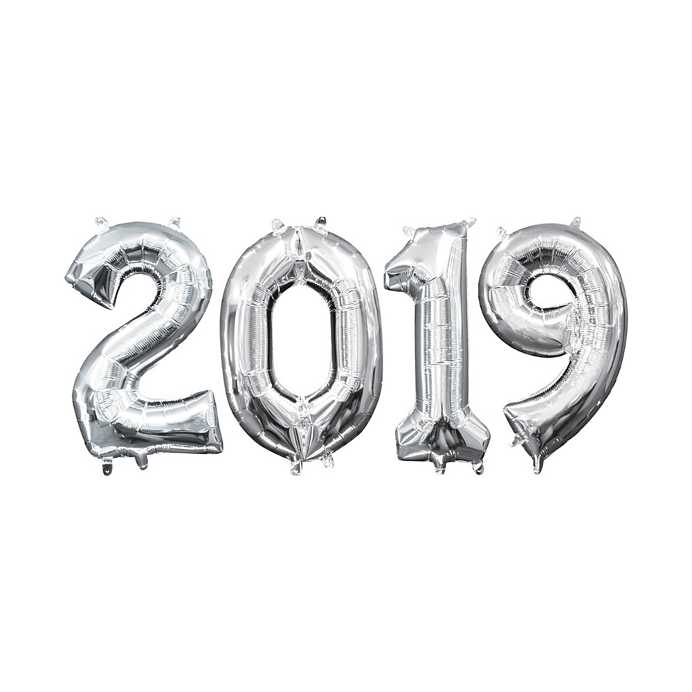13in Air-Filled Silver 2019 Number Balloon Kit Image #1