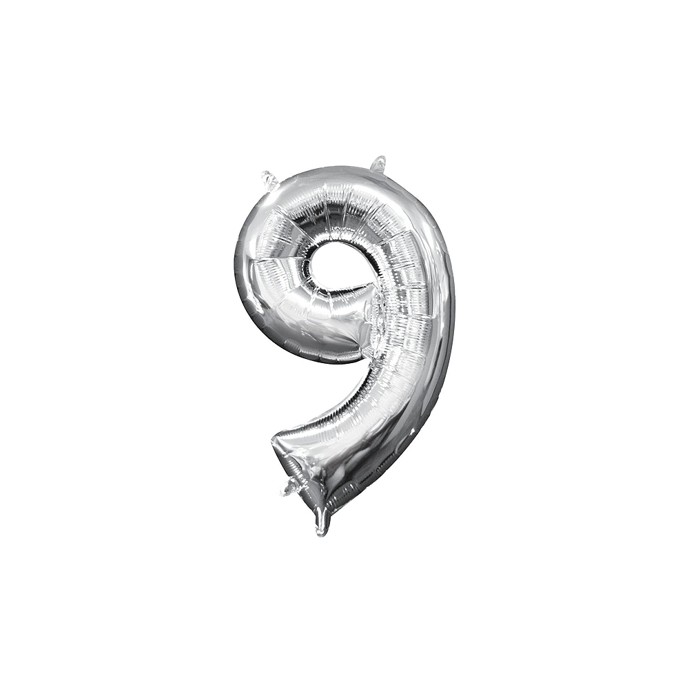 13in Air-Filled Silver 2019 Number Balloon Kit Image #6