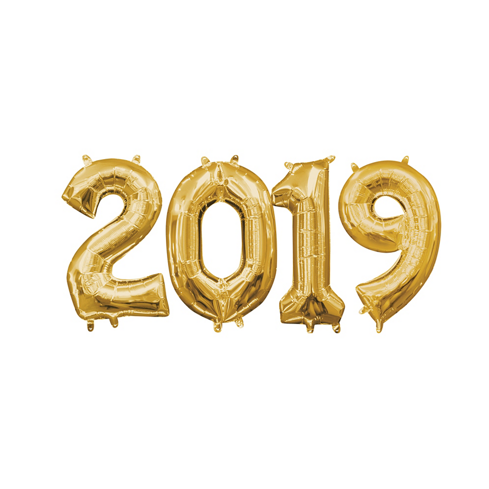 13in Air-Filled Gold 2019 Number Balloon Kit Image #1