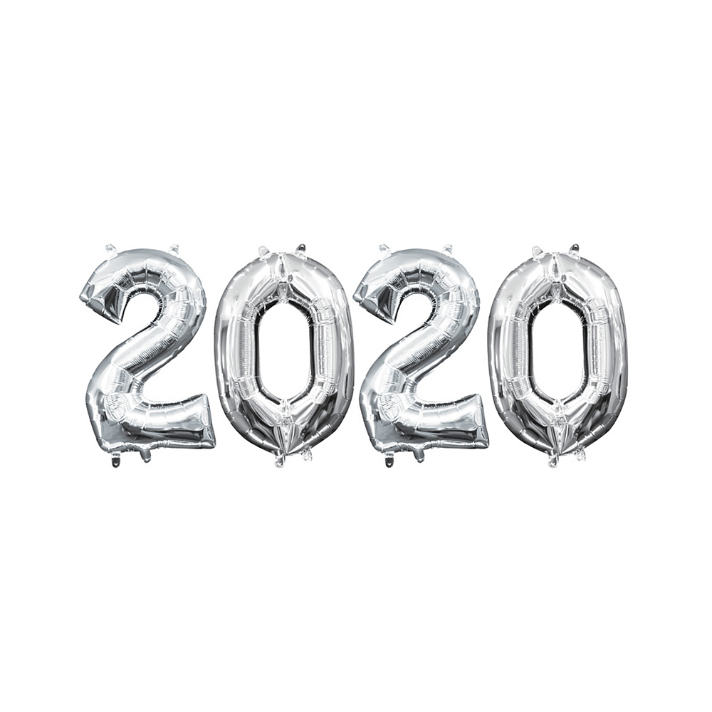 13in Air-Filled Silver 2020 Number Balloon Kit Image #1