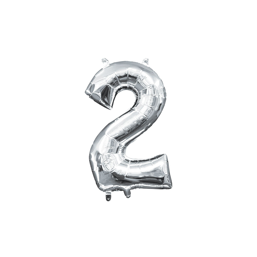 13in Air-Filled Silver 2020 Number Balloon Kit Image #4