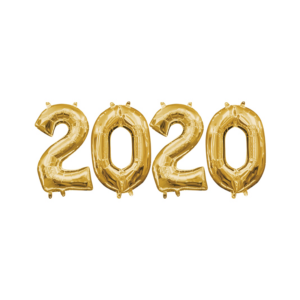 13in Air-Filled Gold 2020 Number Balloon Kit Image #1