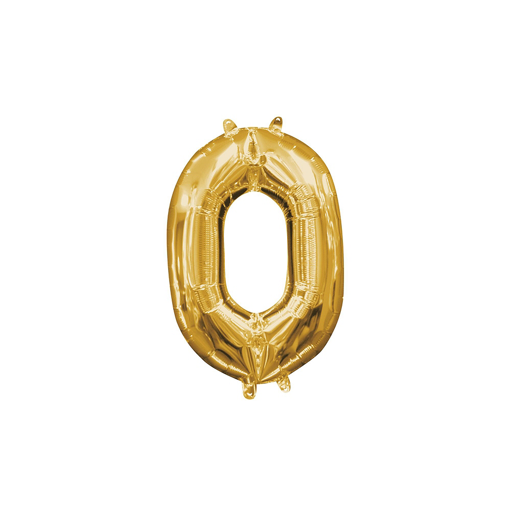 13in Air-Filled Gold 2020 Number Balloon Kit Image #3