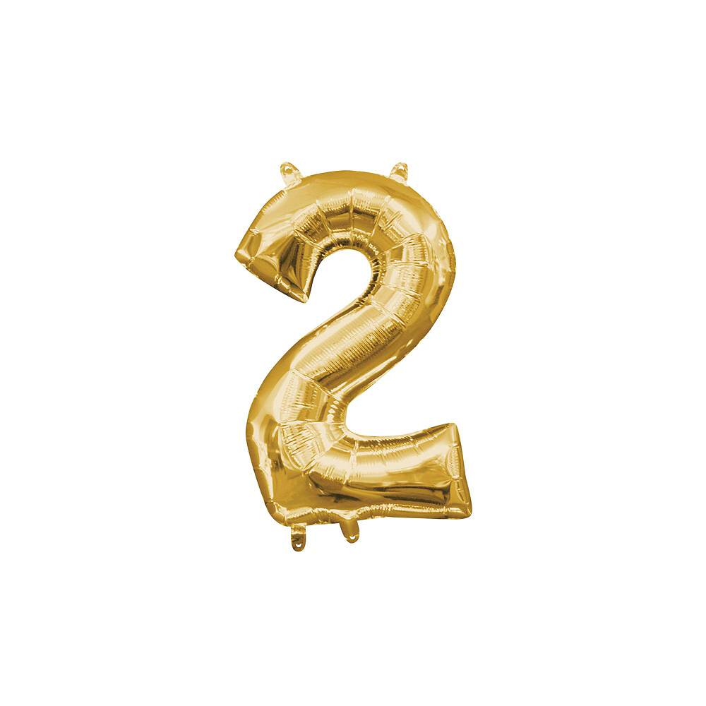 13in Air-Filled Gold 2020 Number Balloon Kit Image #4