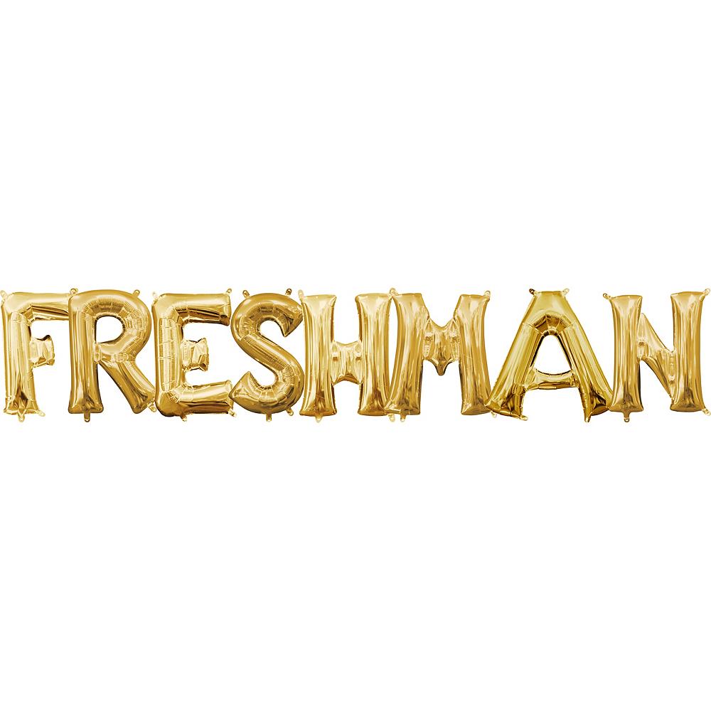 Air-Filled Gold Freshman Letter Balloon Kit Image #1