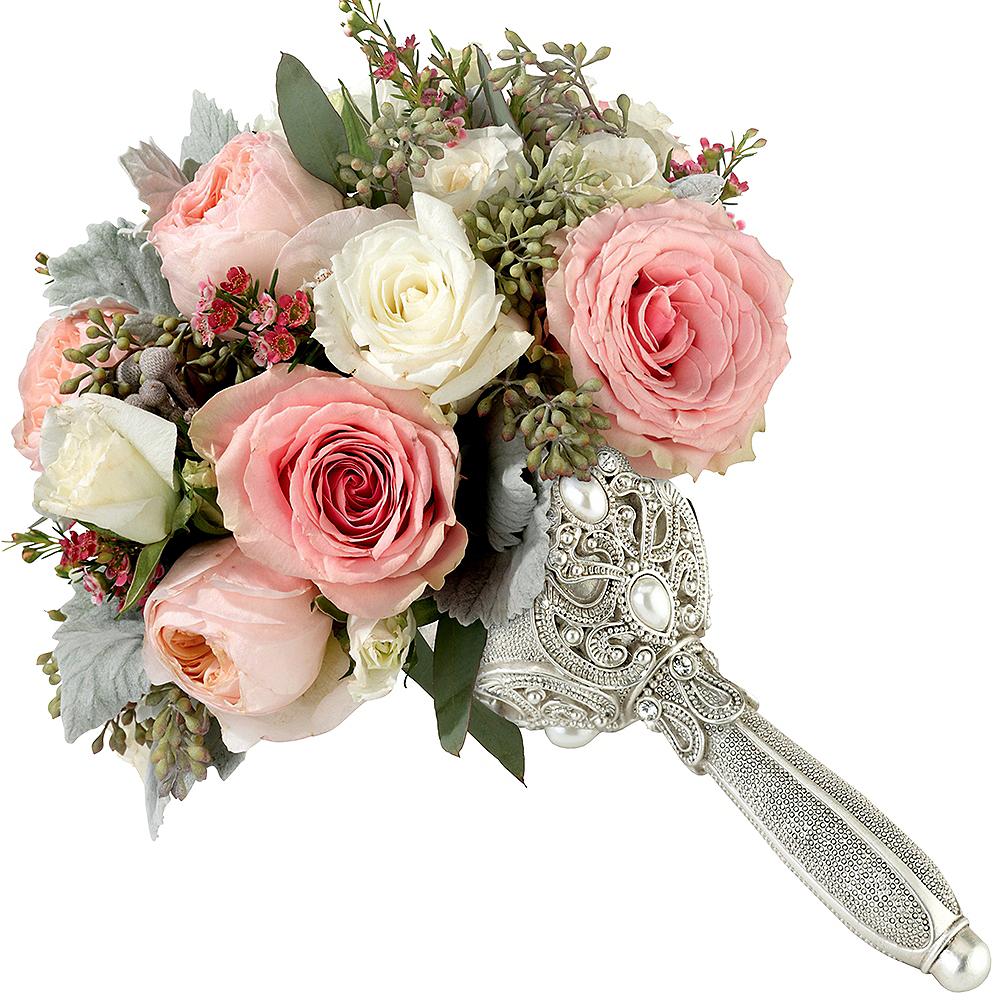 Silver Jeweled Wedding Bouquet Holder Image #1