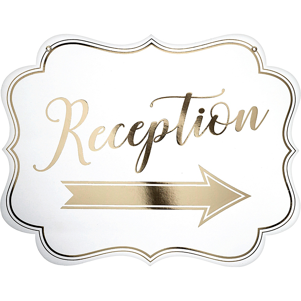 White & Gold Wedding Reception Scroll Sign Image #2