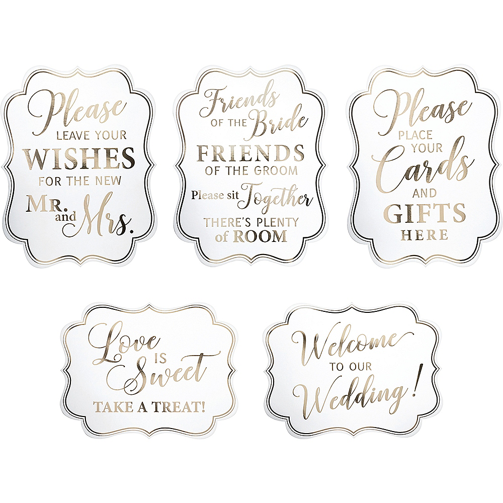 White & Gold Wedding Scroll Signs 5ct Image #2