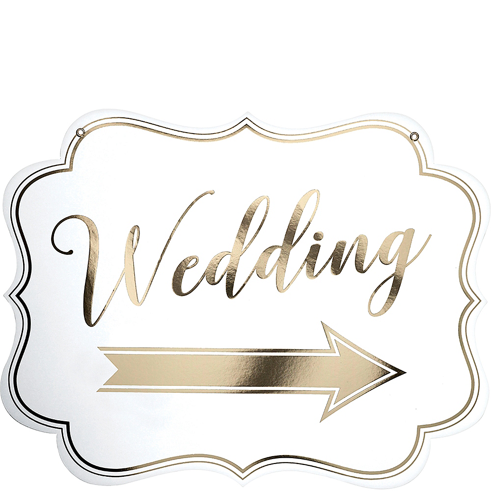 White & Gold Wedding Scroll Sign Image #2