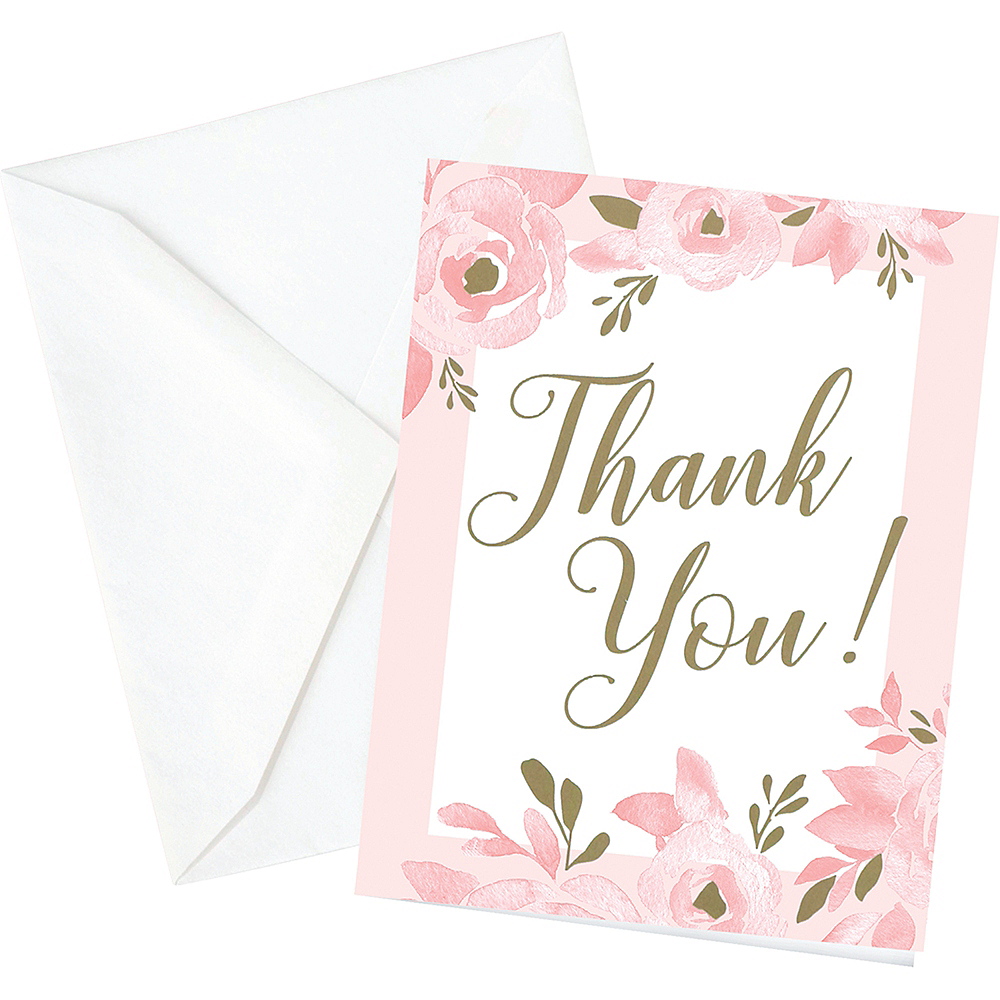 Pink & Gold Bridal Shower Thank You Cards 12ct Image #1