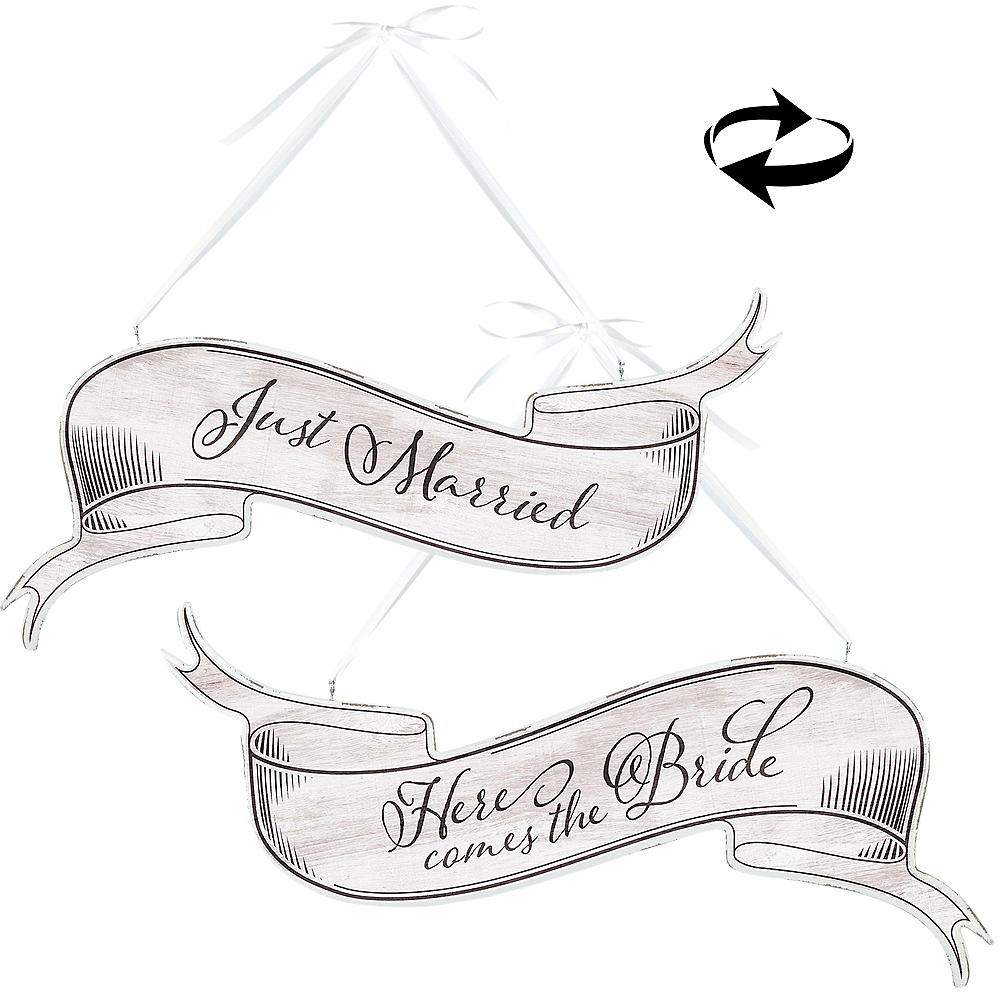 Double-Sided Bride & Just Married Sign Image #1